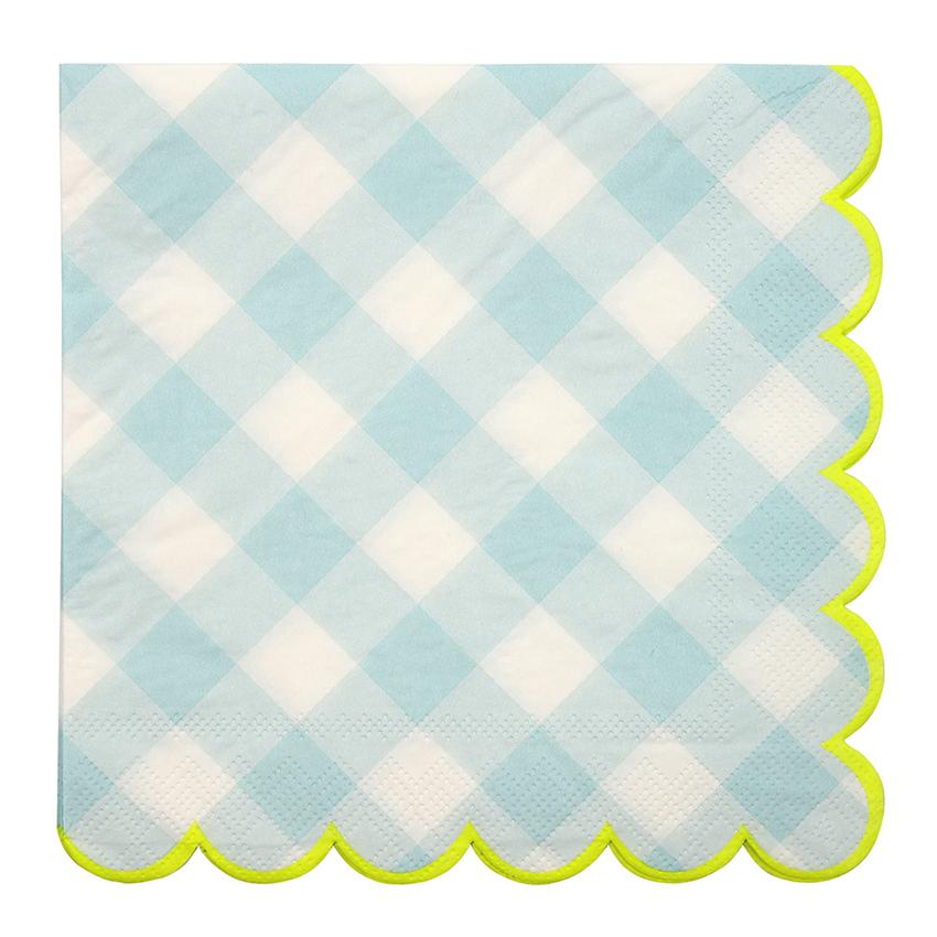 Blue Gingham Napkins (Lg) Tabletop Meri Meri