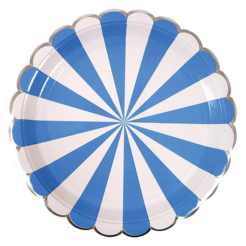 Blue & White Striped Plate (Lg) Tabletop Meri Meri