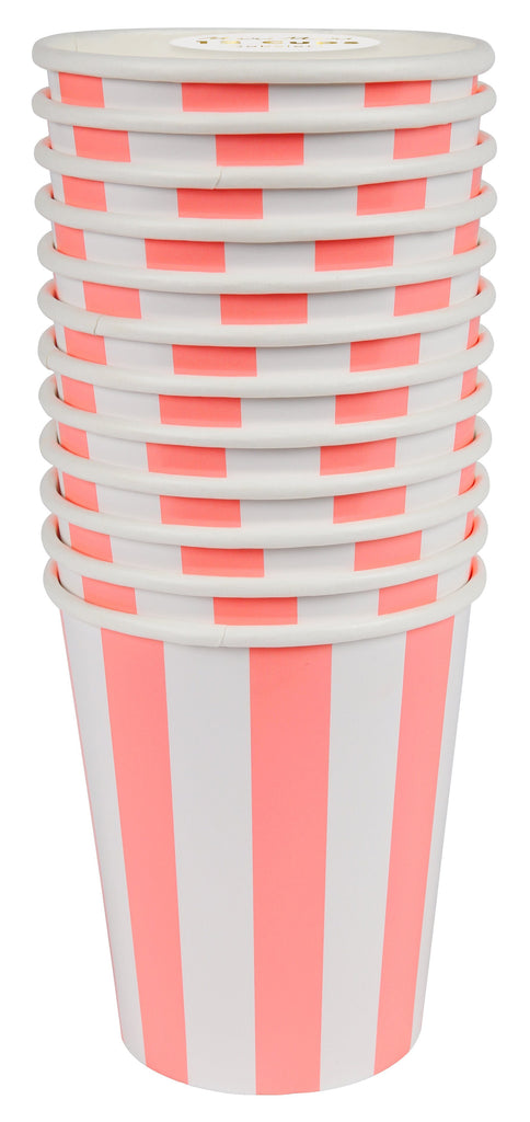Coral Striped Cups Tabletop Meri Meri