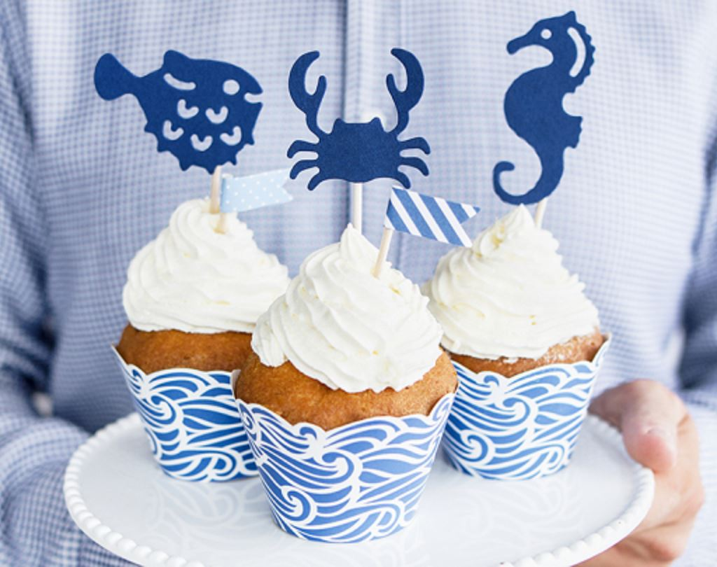 Deep Blue Sea Cupcake Wrappers Cake & Cupcake Party Deco