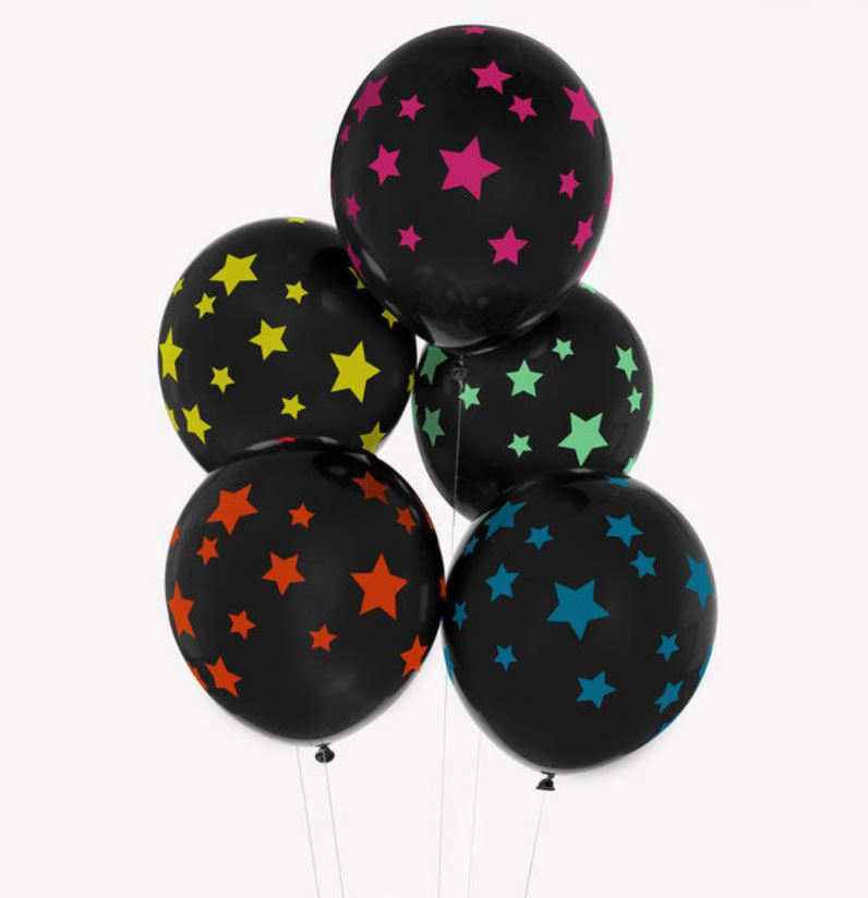 Disco Stars Patterned Latex Balloons Balloons My Little Day