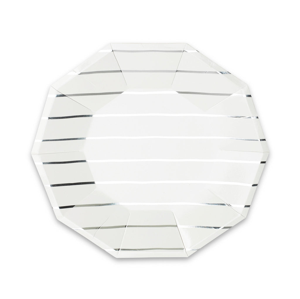 Frenchie Metallic Striped Plate (Lg) Tabletop Daydream Society silver