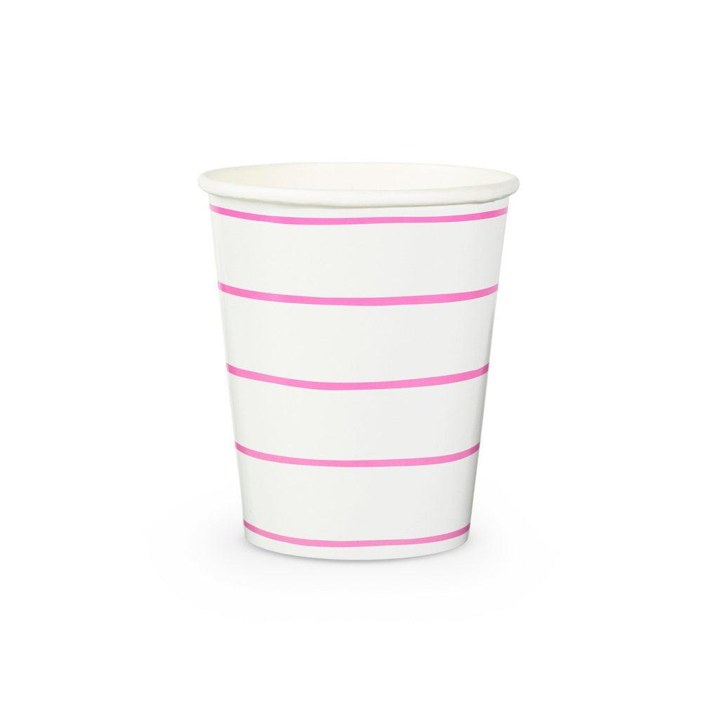 Frenchie Stripe Cups Tabletop Daydream Society Cerise Pink