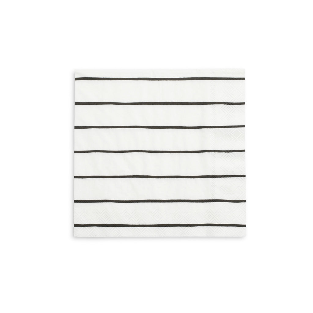 Frenchie Striped Napkins (Lg) Tabletop Daydream Society Black Ink