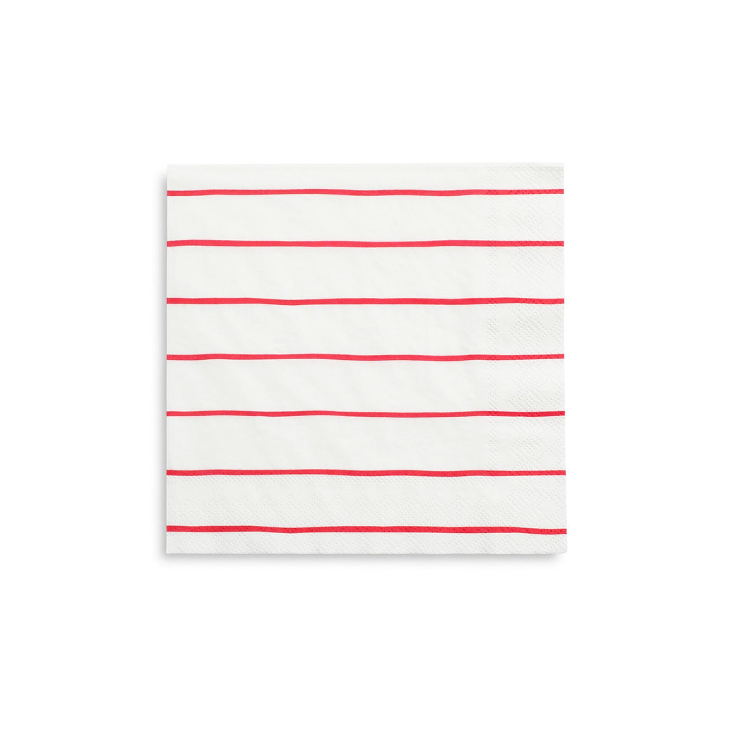 Frenchie Striped Napkins (Lg) Tabletop Daydream Society Candy Apple Red