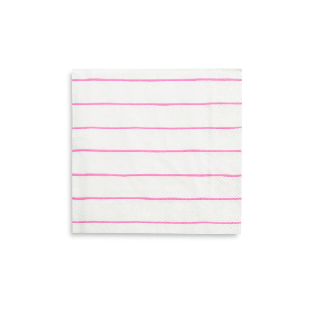 Frenchie Striped Napkins (Lg) Tabletop Daydream Society Cerise Pink