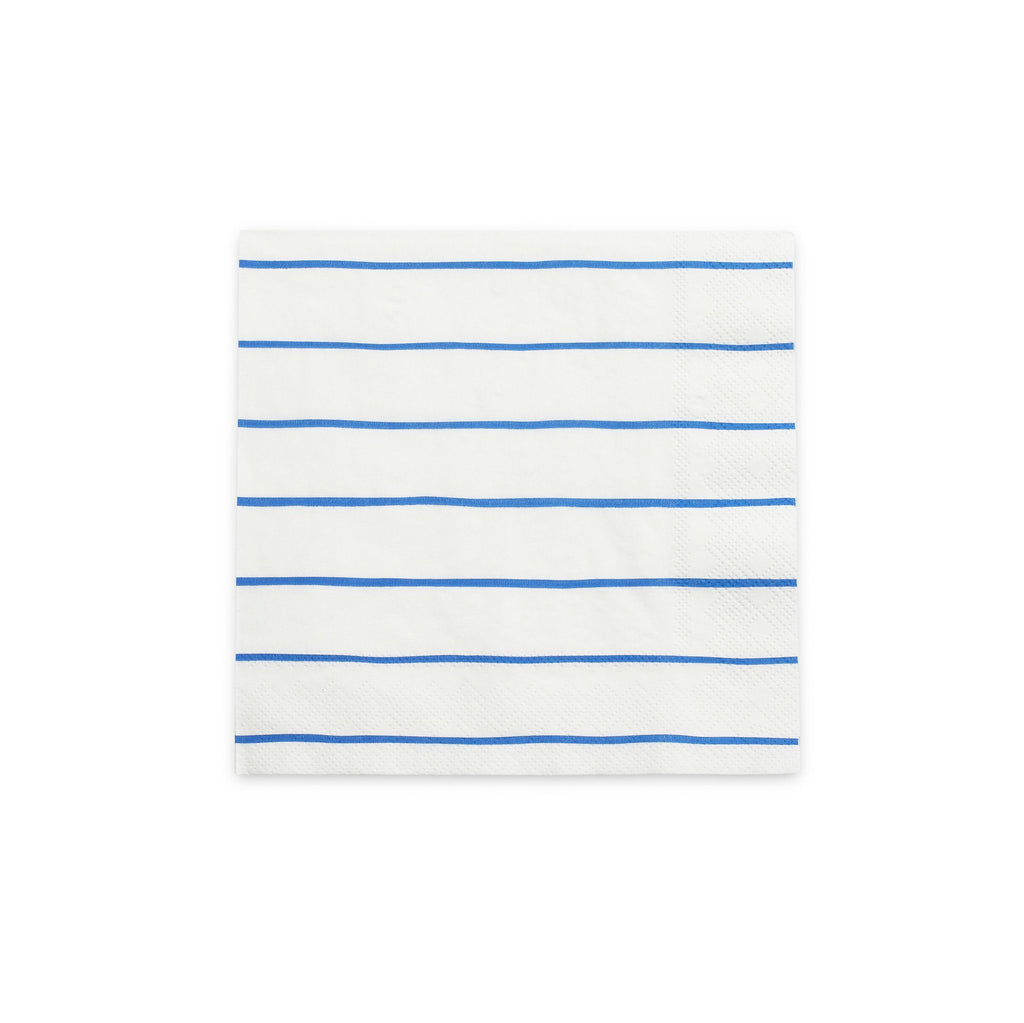 Frenchie Striped Napkins (Lg) Tabletop Daydream Society Cobalt Blue