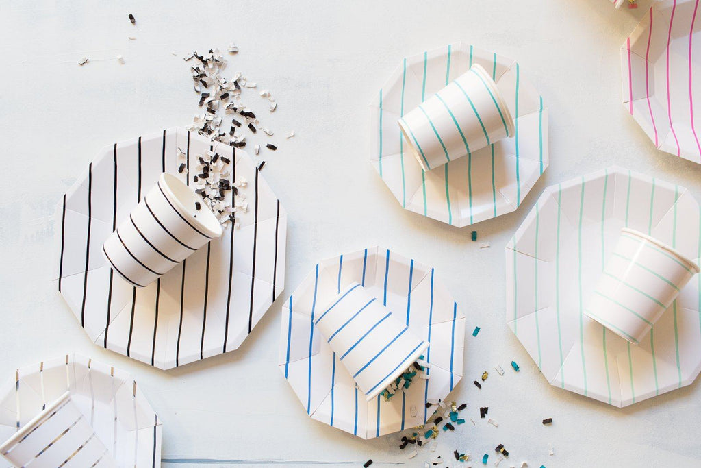 Frenchie Striped Plates (Lg) Tabletop Daydream Society
