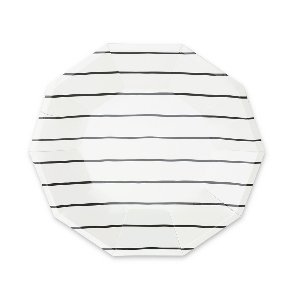 Frenchie Striped Plates (Lg) Tabletop Daydream Society Black Ink