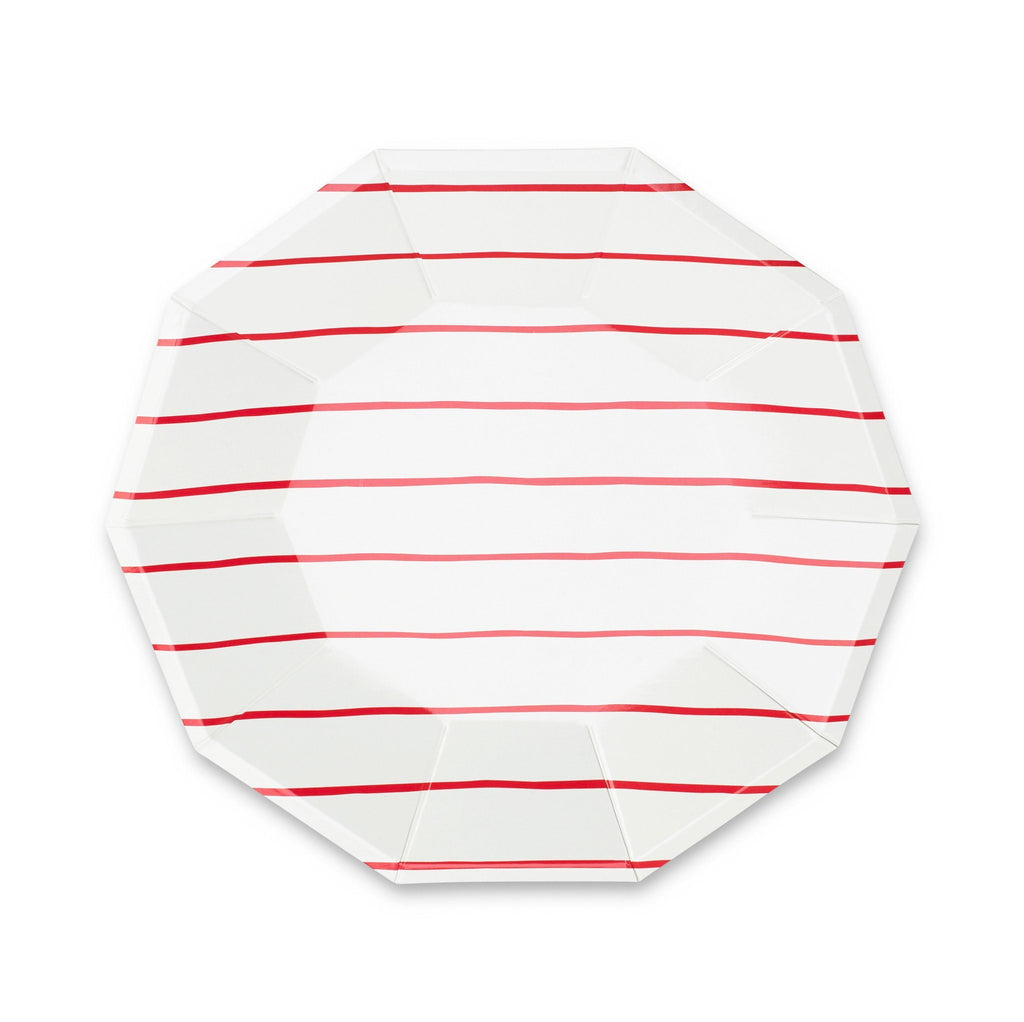 Frenchie Striped Plates (Lg) Tabletop Daydream Society Candy Apple Red