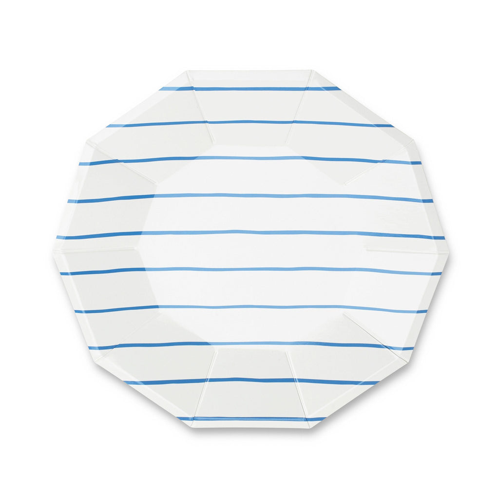 Frenchie Striped Plates (Lg) Tabletop Daydream Society Cobalt Blue