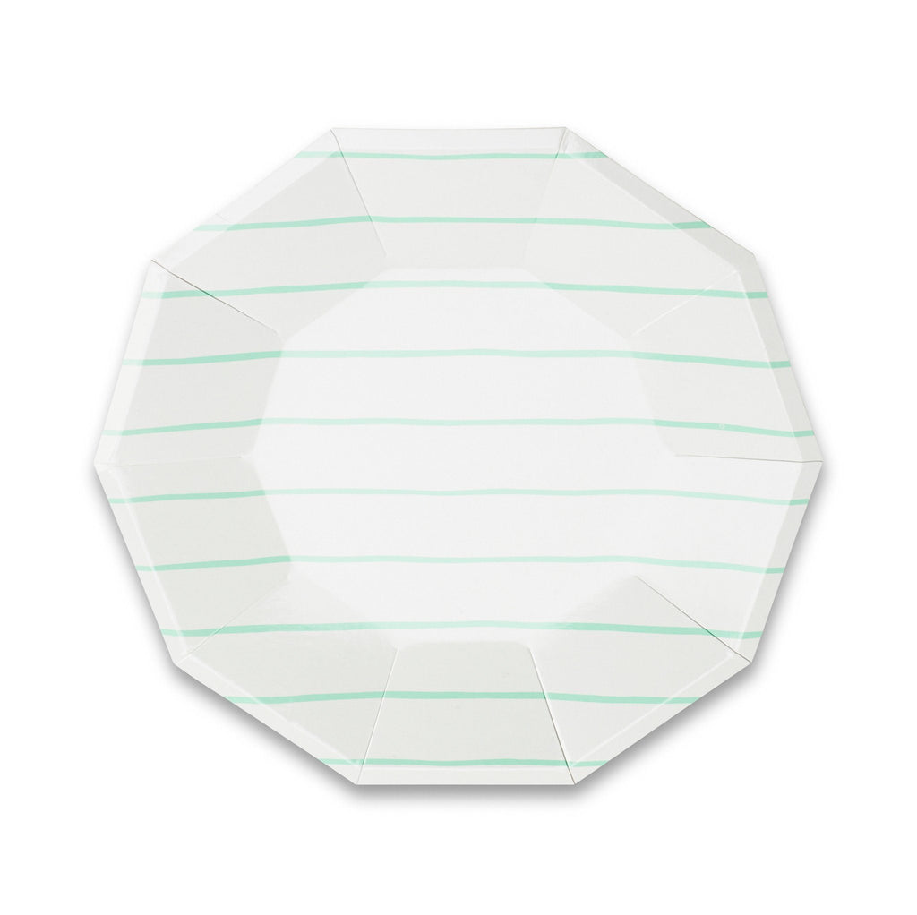 Frenchie Striped Plates (Lg) Tabletop Daydream Society Mint Green