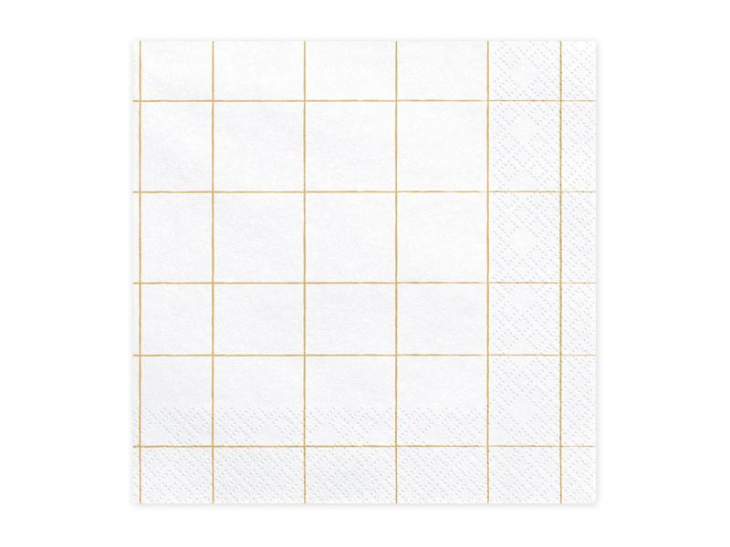 Gold Grid Pattern Napkins (Lg) Tabletop Party Deco