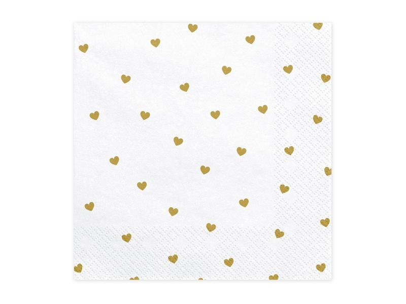 Gold Heart Pattern Napkins (Lg) Tabletop Party Deco