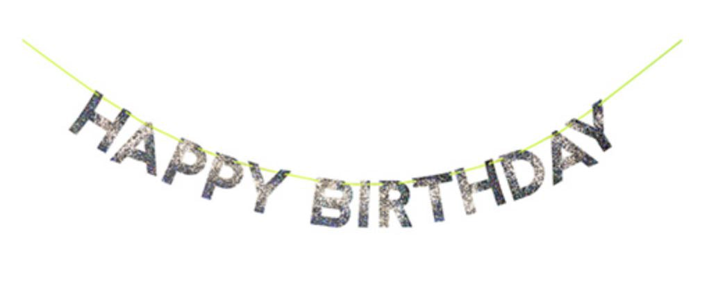 """Happy Birthday"" Garland - Holographic Silver Decor Meri Meri"