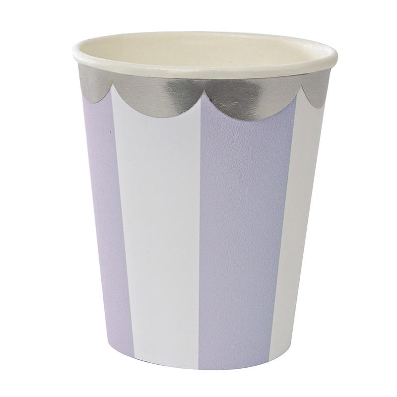 Lavender & White Striped Cups Tabletop Meri Meri