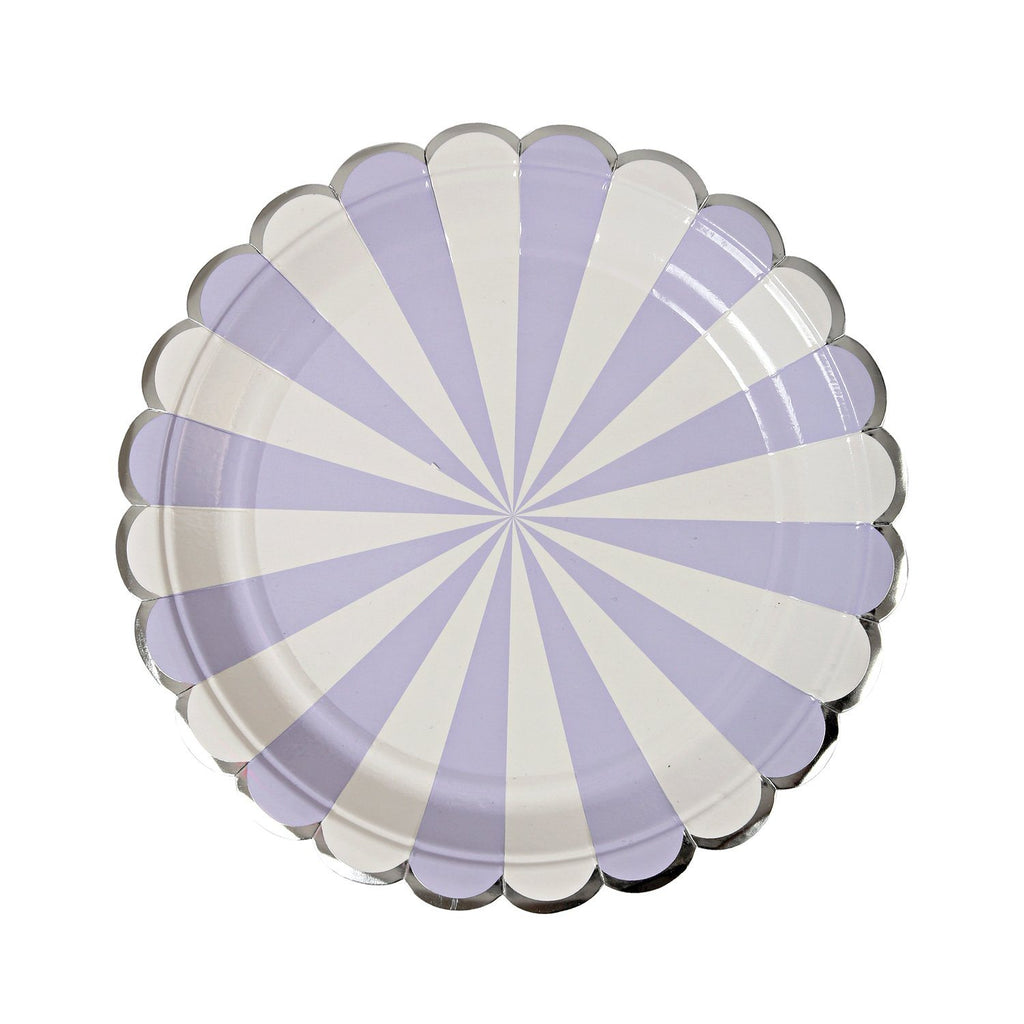 Lavender & White Striped Plate (Lg) Tabletop Meri Meri