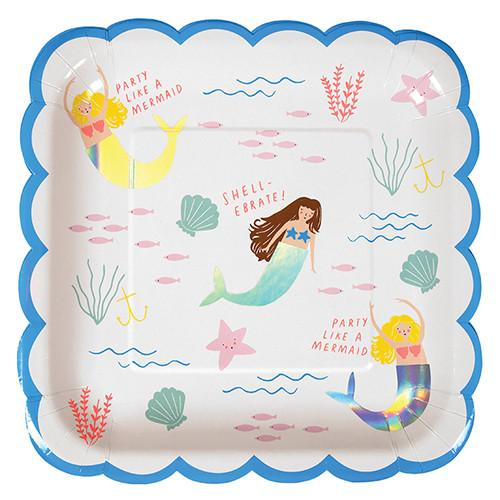 Mermaid Plates (Lg) Tabletop Meri Meri