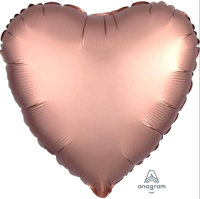 "Mylar 18"" Satin Luxe Heart Balloon Balloons Rainbow Balloons rose copper"