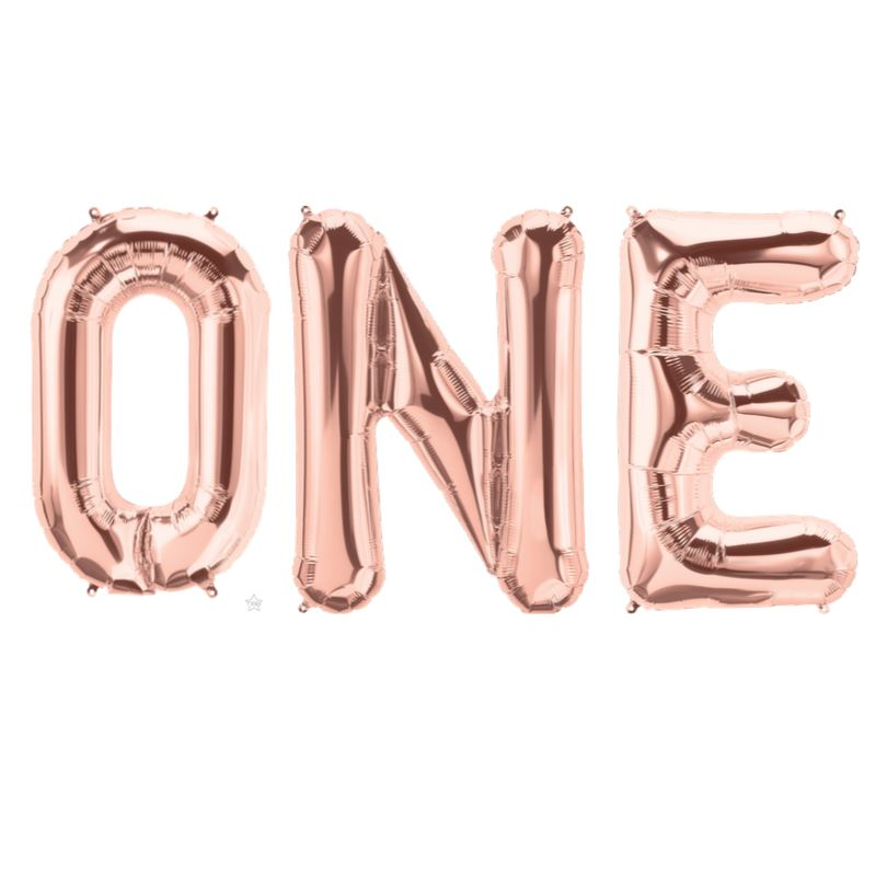 """ONE"" Balloon Kit 34"" Balloons MSR Balloons rose gold"