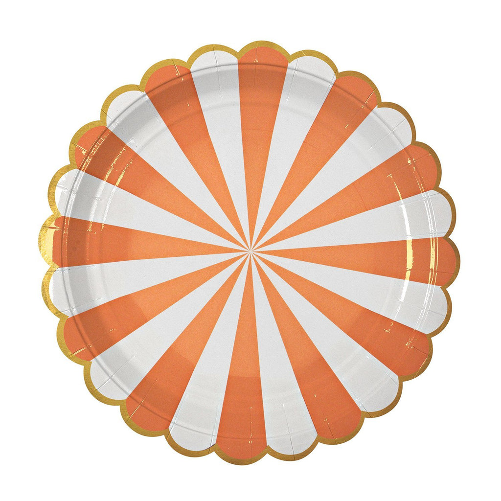 Orange & White Striped Plate (Lg) Tabletop Meri Meri