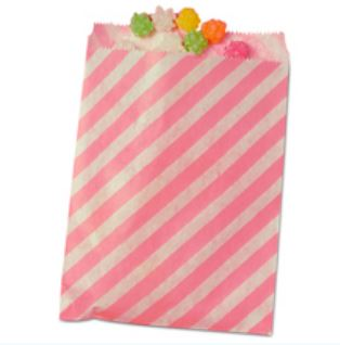 Striped Treat Bags Lou & Pepper Party Shop Light Pink & White