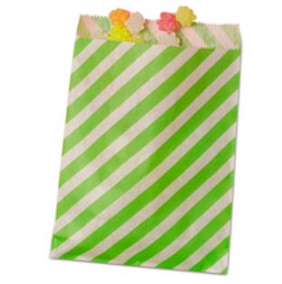 Striped Treat Bags Lou & Pepper Party Shop Lime Green & White