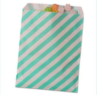 Striped Treat Bags Lou & Pepper Party Shop Turquoise & White