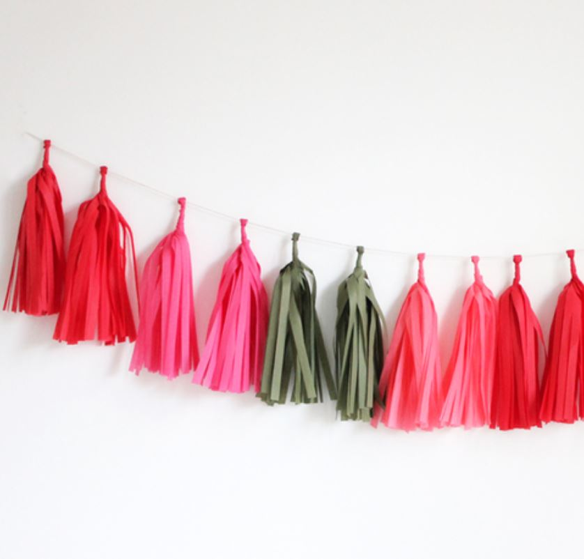 Tissue Tassel Garlands (16 tassels) Decor The Flair Exchange poppy
