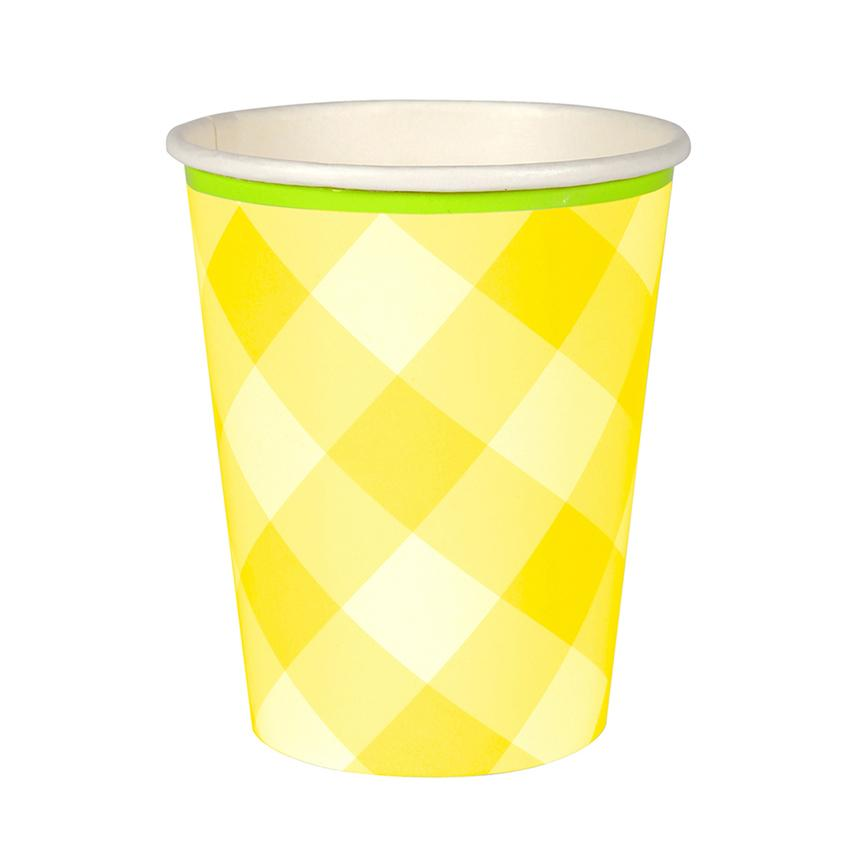 Yellow Gingham Cups Tabletop Meri Meri