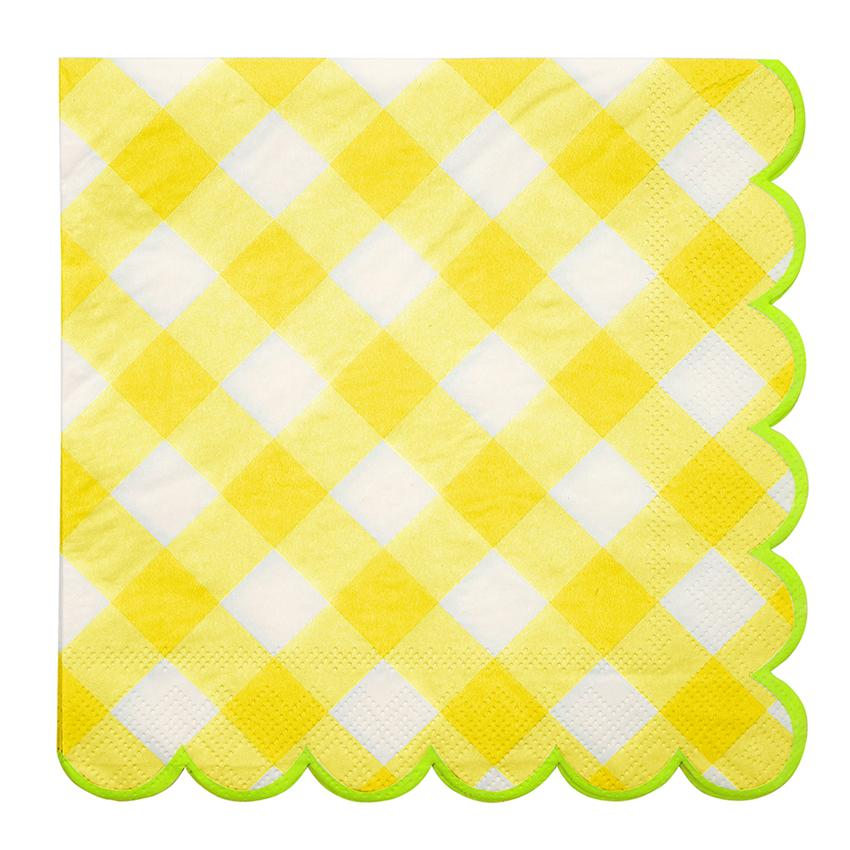 Yellow Gingham Napkins (Lg) Tabletop Meri Meri