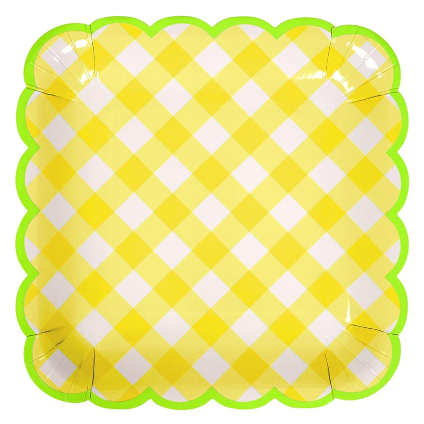 Yellow Gingham Plates (Lg) Tabletop Meri Meri