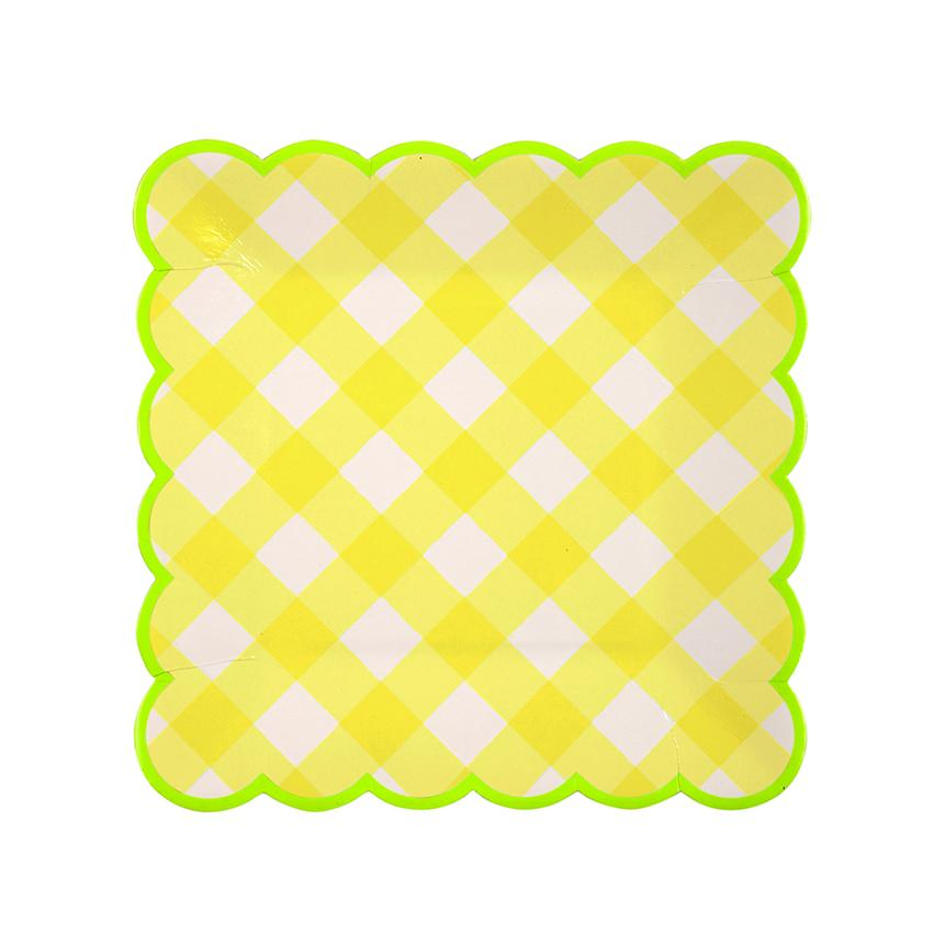 Yellow Gingham Plates (Sm) Tabletop Meri Meri
