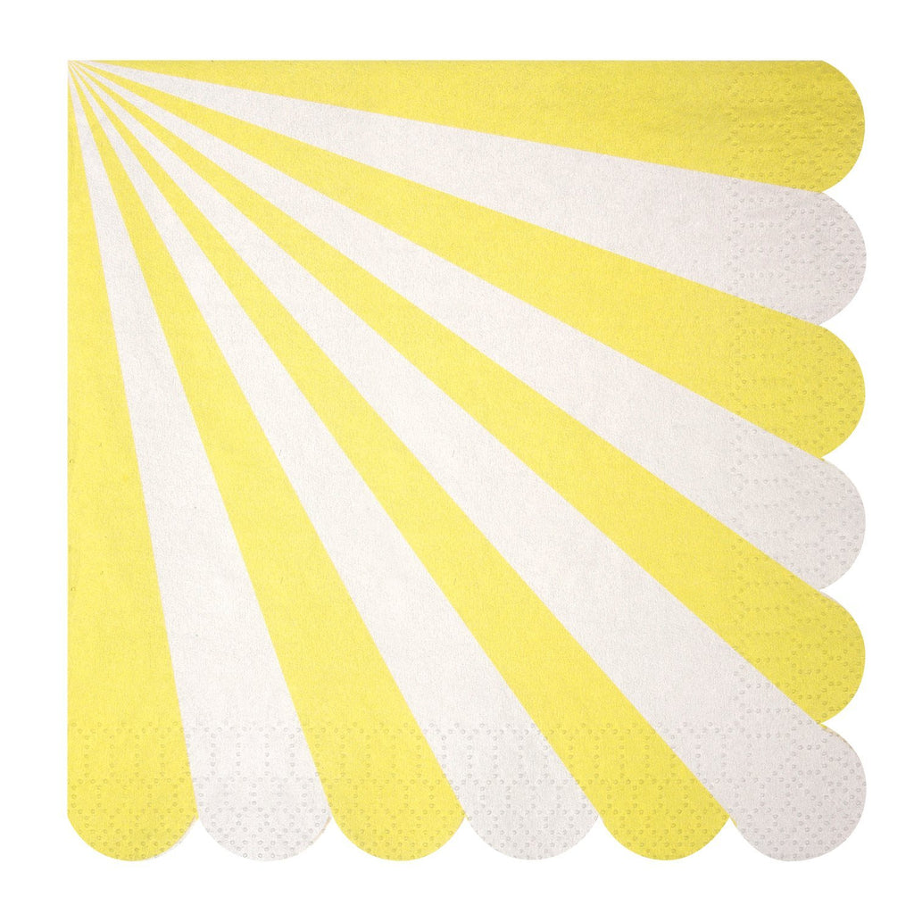 Yellow & White Striped Napkins (Lg) Tabletop Meri Meri