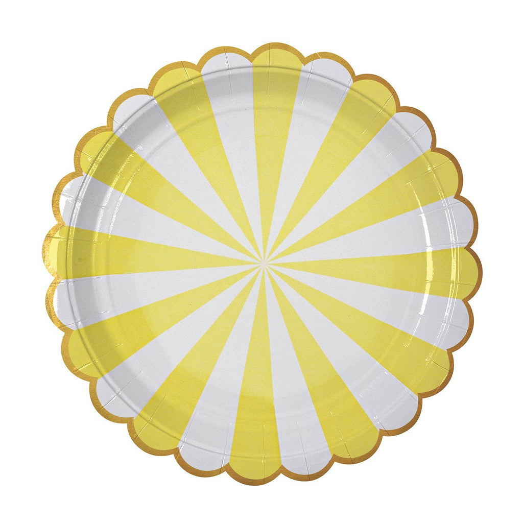 Yellow & White Striped Plate (Lg) Tabletop Meri Meri