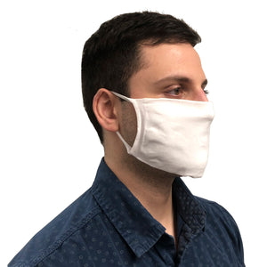 Right View of Man Wearing White Knitted Face Mask