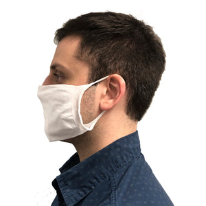 Profile View of Man Wearing White Knitted Face Mask