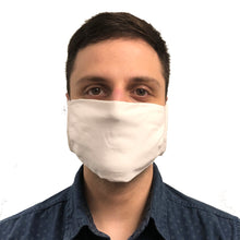 Front View of Man Wearing White Knitted Face Mask