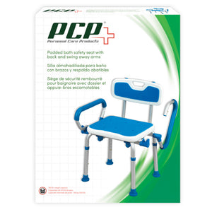 Padded Bath Safety Seat With Back and Swing Away Arms Packaging