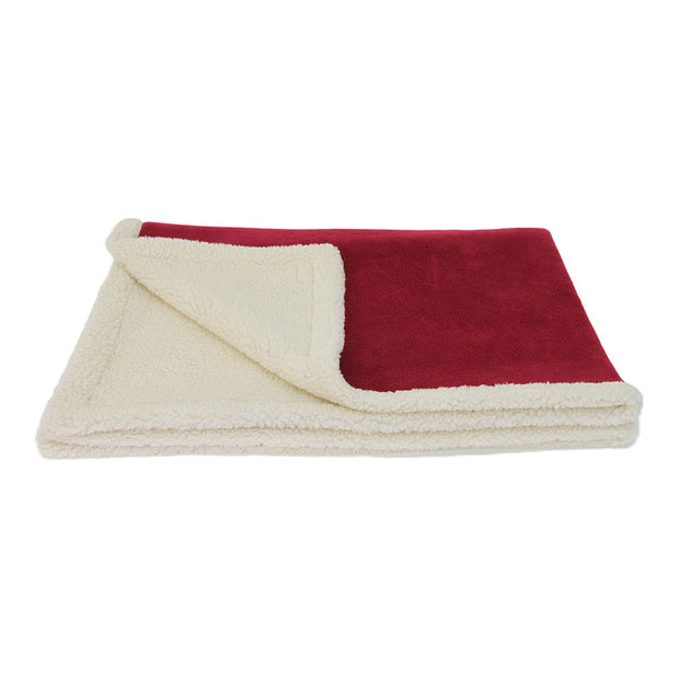 Reversible Sherpa and Fleece Blanket (Burgundy)