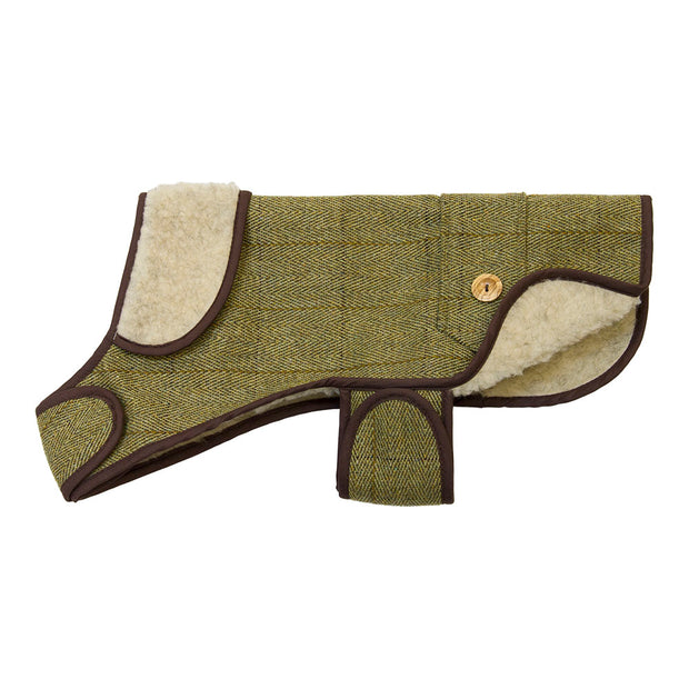Tweed Sherpa Dog Coat (Green Tweed)