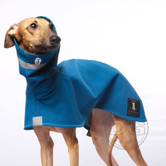 Sighthound/Whippet Classic Rain Coat (Storm Blue and Strawberry Red)