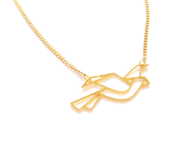Origami Bird Necklace (In Gold or Silver)