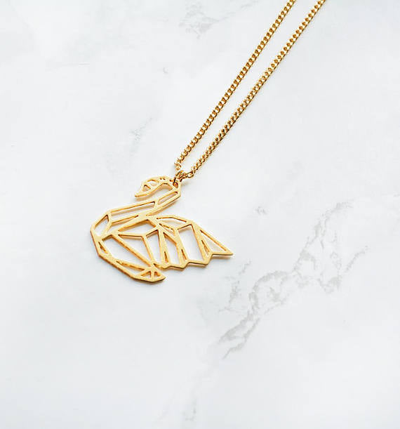 Origami Swan Necklace (in Gold or Silver)
