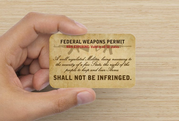 Federal Weapons Permit Card