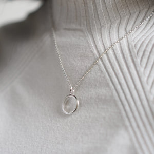 Crescent Moon Hammered Circle Necklace - Silver