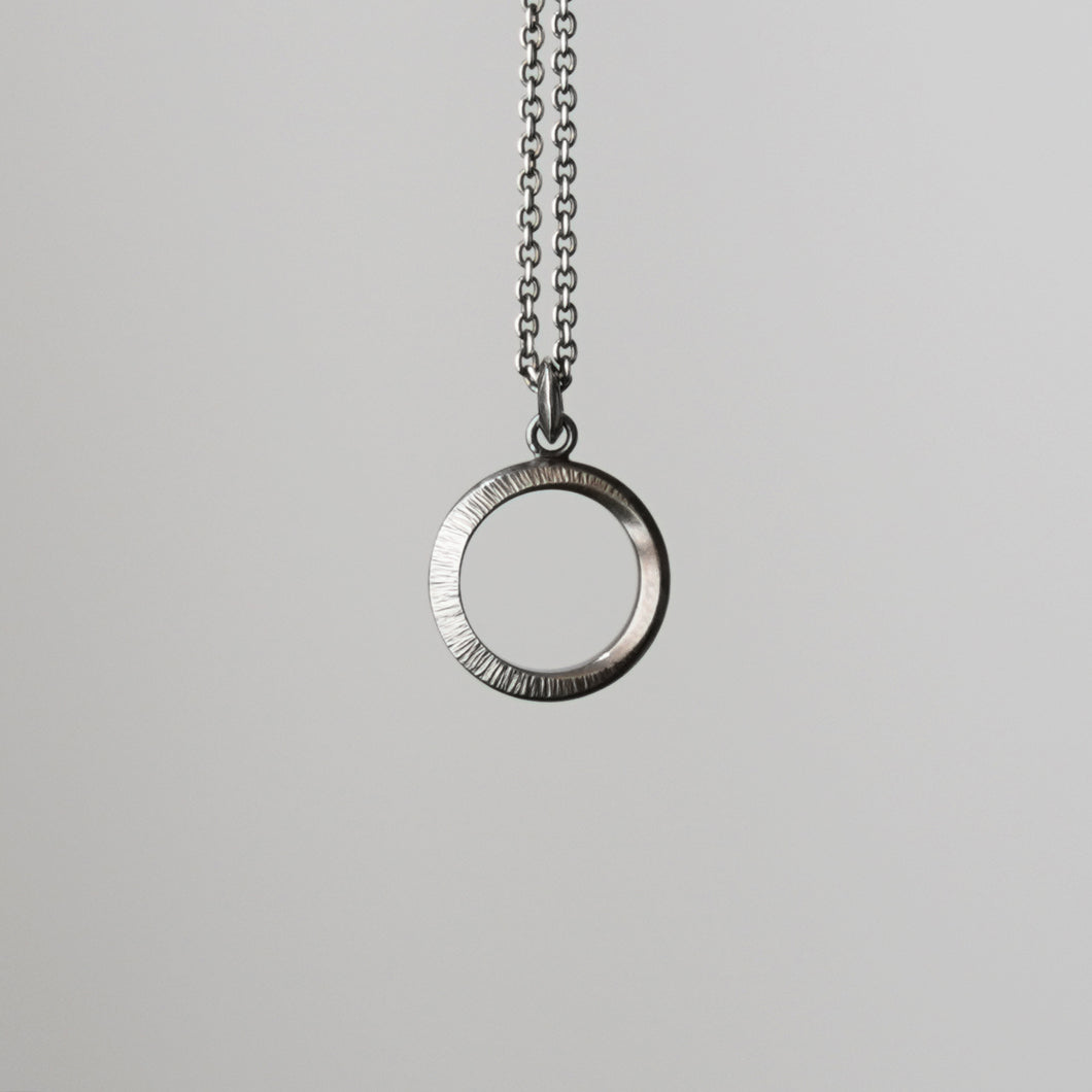 Crescent Moon Hammered Circle Necklace - Black