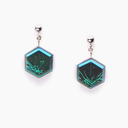 Nebula Hexagon Earrings - Aurora