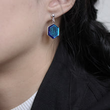 Load image into Gallery viewer, Nebula Hexagon Earrings - Aurora