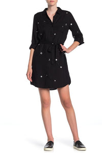 Anita Star Roll Sleeve Button Down Shirt Dress - Ladies